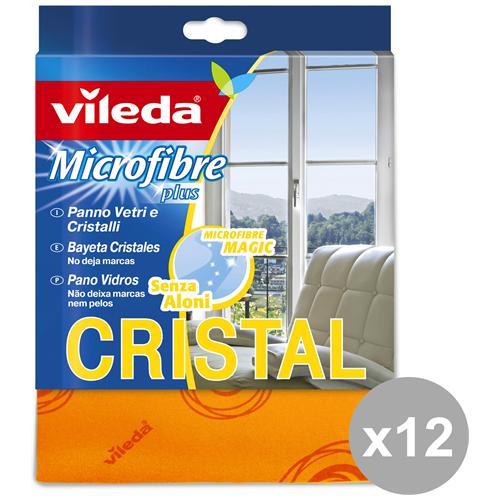 Vileda Set 12 Panno Vetri-cristalli Microfibra Attrezzi Pulizie