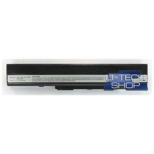 LI-TECH Batteria Notebook compatibile 5200mAh per ASUS K62JR 10.8V 11.1V nero 57Wh 5.2Ah