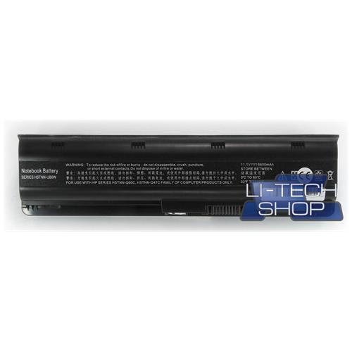 LI-TECH Batteria Notebook compatibile 9 celle per HP G62T-100 10.8V 11.1V 6600mAh nero 73Wh 6.6Ah