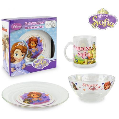 Minnie Wd8543 Set Da Colazione Principessa Sofia Con Scodella Tazza E Piattino In Vetro