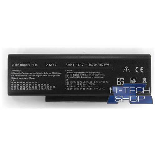 LI-TECH Batteria Notebook compatibile 9 celle per ASUS F3SVAP224C1 10.8V 11.1V 6600mAh nero