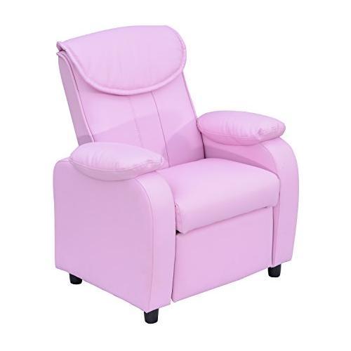 OUTSUNNY Poltrona reclinabile poltrona relax sedia letto per bambini con portabicchere in pelle sintetica verde / rosa rosa