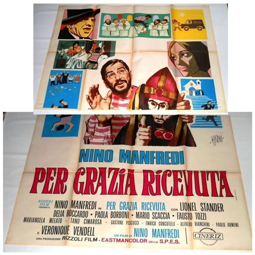Vendilosubito Manifesto Originale Del Film Per Grazia Ricevuta Nino Manfredi 1971 Raro