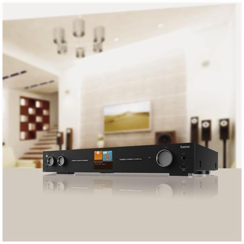"HAMA Tuner ""DIT2010"", DAB+, Internet radio, FM, Wifi, LAN, vTuner, App, Spotify, display a colori, telecomando, metallo, nero"
