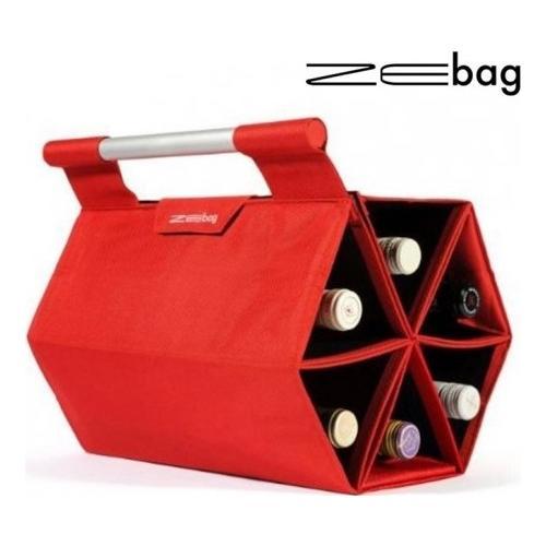 ZEbag® Borsa Rossa Porta 6 Bottiglie, Incluso Gancio Per Muro