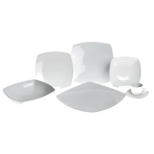 EXCELSA Piatto Fondo Bianco in Porcellana Quadro 17,0 x 17,0 cm