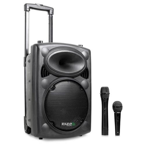 Ibiza Sound Cassa amplificata attiva 500 Watt 10'' Trolley, ricaricabile, Bluetooth, radio, microfono Wireless, microfono con filo