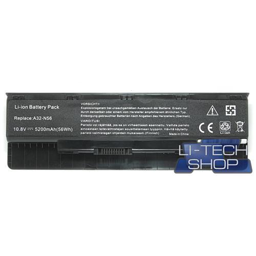 LI-TECH Batteria Notebook compatibile 5200mAh per ASUS N56VZ-S4026V nero pila 57Wh