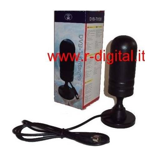 r2digital Antenna Dvb-t Segnali Televisivi Vhf E Uhf 30 Db Digitale Terrestre Passiva Annello Metallico Alla Base