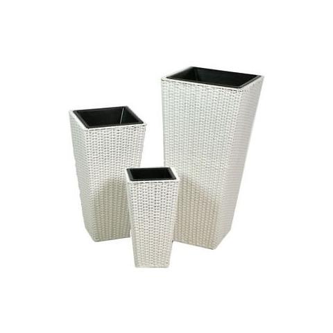 Vasi Rattan Sintetico Prezzi.Gruppo Maruccia Set Tre Vasi In Rattan Sintetico Color Bianco Eprice