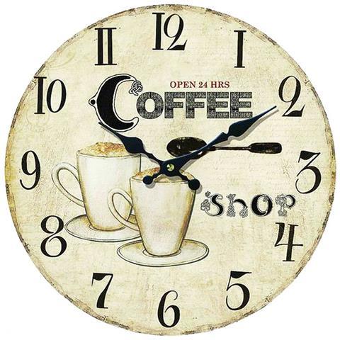data di rilascio: ampia selezione dettagliare Le fantasie di casa Orologio Da Parete Rotondo Grande In Legno Mdf Stampa  Coffee Shop.