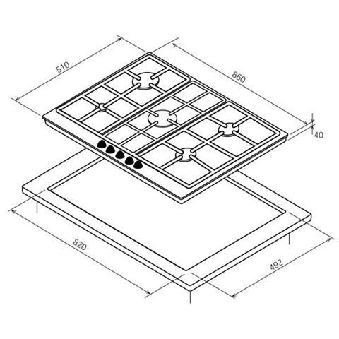 BOMPANI - Piano Cottura BO293MG / N a Gas 5 Fuochi Gas da 90 cm ...