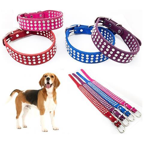 Trade Shop Collare Per Cane Cani Con Doppia Fila Di Strass