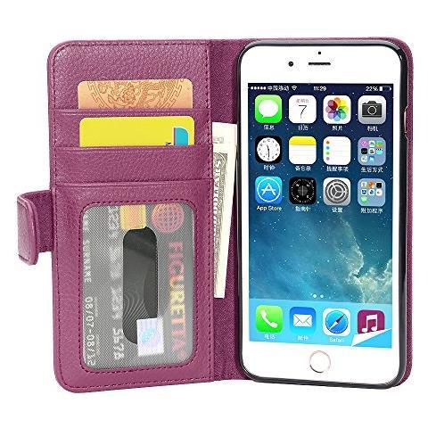 Cadorabo Custodia Libro Per Apple Iphone 8 Plus / iphone 7 Plus / iphone 7s Plus In Lila Bordeaux - Con 3 Vani Di Carte E Chiusura Magnetica - ...