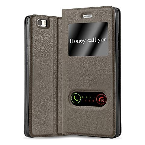 Cadorabo Custodia Libro Per Huawei P8 Lite 2015 In Bruno Pietra - Con Funzione Stand E Chiusura Magnetica - Portafoglio Cover Case Wallet Book Etui ...