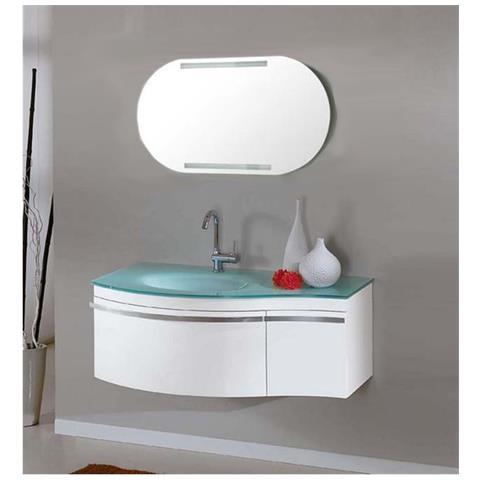 Bagno Italia Arredo Bagno 100 Cm Mobile Bianco Moderno Sospeso Lavandino In Cristallo Verde E Specchio Mobili Eprice