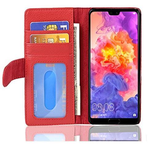 Cadorabo Custodia Libro Per Huawei P20 Pro In Rosso Cremisi - Con 3 Vani Di Carte E Chiusura Magnetica - Portafoglio Cover Case Wallet Book Etui ...