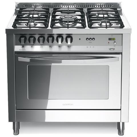 LOFRA Cucina Elettrica PLG96MFT / C Fuochi a Gas Forno Elettrico Ventilato  Dimensione 90 x 60 cm Colore Inox