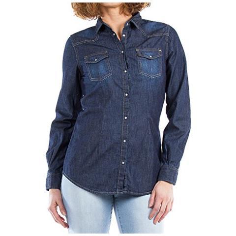 release date d1a6e 45b7f CARRERA JEANS Carrera Camicia Di Jeans Aderente Stile Western Donna  Lavaggio Scuro S