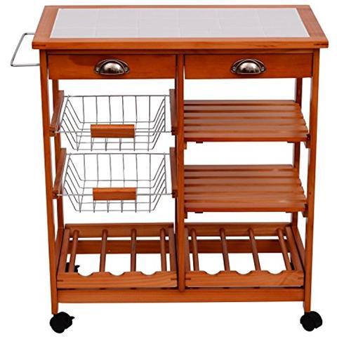 HOMCOM Carrello per cucina in legno metallo con 4 ruote e cassetti