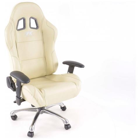 Sedia Sportiva Da Ufficio.Fk Automotive Sedia Da Ufficio Sedile Sportivo Con Braccioli Pelle Artificiale Beige Cuciture Nere Eprice