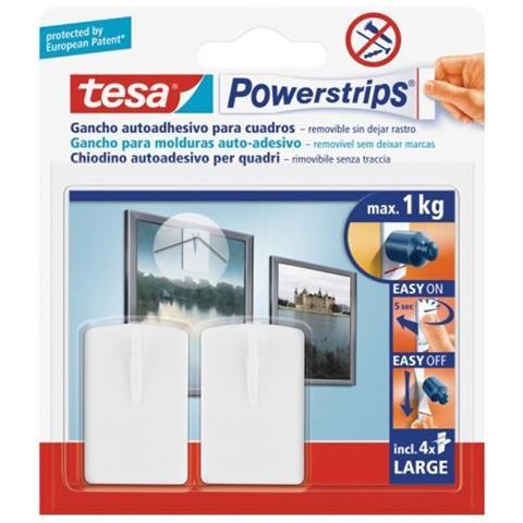 tesa Powerstrips 4 Strisce Adesive Appendi Quadri, 2 Ganci Adesivi, 1 kg, Bianco MAG_9U-O7YV-ZECO