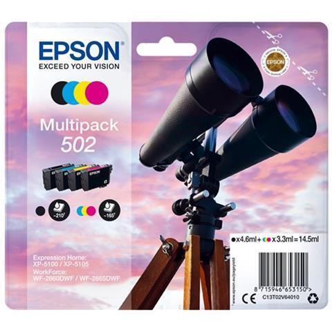 EPSON - CONSUMER INK (S1) BINOCULARS MULTIPACK 4-COLOURS 502 INK BLACK 4.6ML - CMY 3.3ML