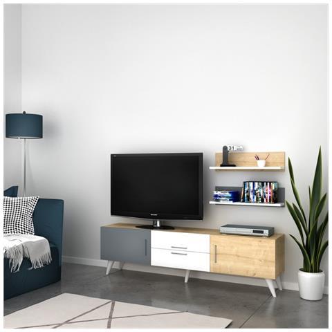 Homemania Mobile Tv Only Bianco Rovere Anthracite Moderno - Casa Arredo  Design - Per Salotto, Soggiorno - Porta, Mensole, Componibile