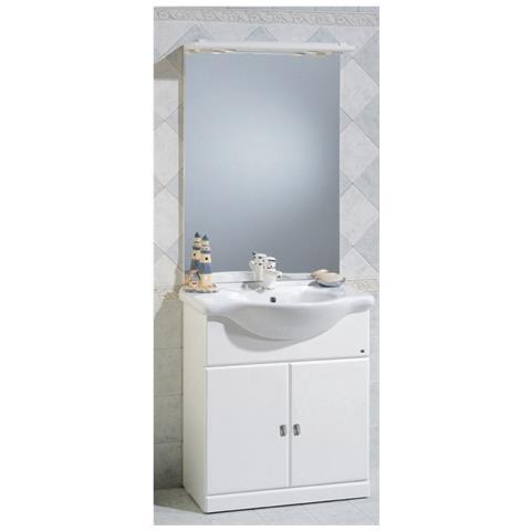Bagno Italia Mobile Arredo Bagno Da Cm 75 Bianco Lucido Con Lavabo In Ceramica E Specchio Mobili 1 Eprice