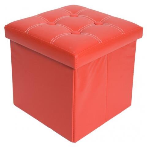 Pouf Cubo.Mobili Rebecca Pouf Cubo Contenitore Rosso Puff Sgabello Ecopelle 30 X 30 Cm