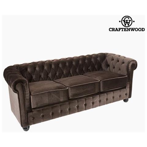 Divano Chesterfield Velluto.Craftenwood Divano Chesterfield A 3 Posti Velluto Marrone Relax Retro Collezione By Craftenwood S0104692