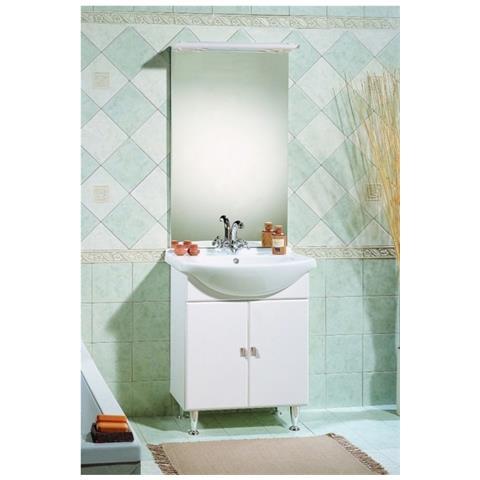 Bagno Italia Mobile Arredo Bagno Da Cm 65 Bianco Lucido Con Lavabo In  Ceramica E Specchio Mobili