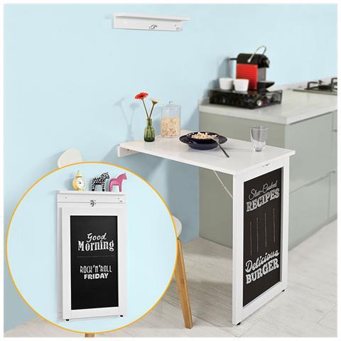 Una Parete Pieghevole.Sobuy Tavolo Da Muro Pieghevole Con Lavagna 75 50 Cm Bianco Fwt20 W