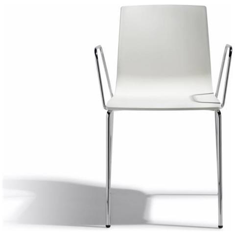 Sedie Con Braccioli Design.Scab Design Set 2 Sedie Alice Con Braccioli In Tecnopolimero E Struttura Acciaio Made In Italy Colorate Tortora