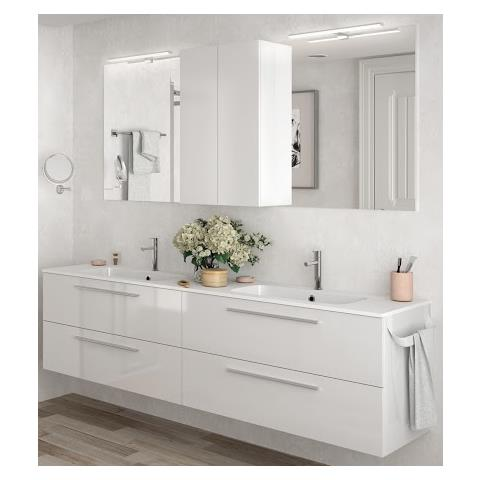 SALGAR - Mobile Sospeso 200 Cm Bianco Lucido Con Specchio - Bianco ...