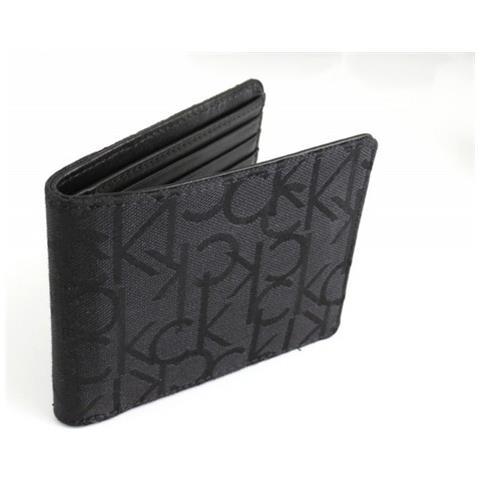 8b84bb8241 Calvin Klein - Portafoglio Nero In Pelle E Tessuto Jacquard - ePRICE
