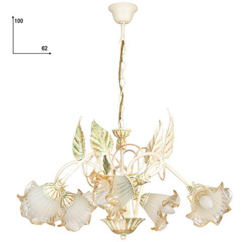 Gt luce I-PRIMAVERA / 5 - Lampadario floreale in ferro battuto con 5 luci  avorio