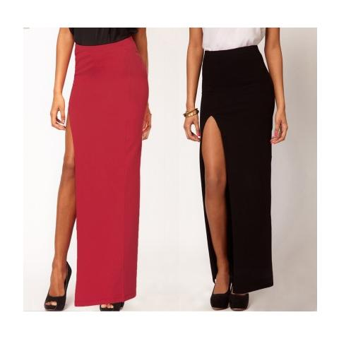 più economico prima i clienti grandi affari 2017 MWS Gonna Lunga Con Spacco Laterale Alicia Ahead Outfit Fashion Mood Casual  - Bordeaux L