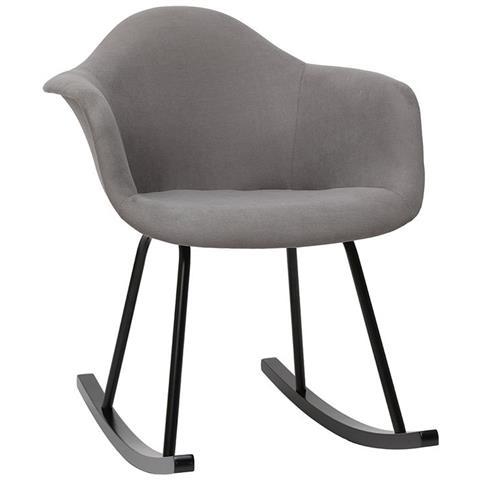 Sedie A Dondolo Design.Miliboo Sedia A Dondolo Design Effetto Velluto Grigio Chiaro Mambo