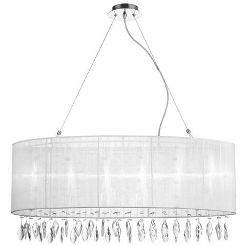 Gt luce Lampadario a 6 luci da salotto con paralume bianco e cristalli