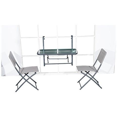 Homcom tavolino pieghevole in acciaio mensola per for Tavolino per balcone