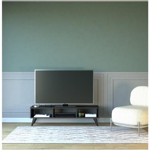 Homemania Mobile Tv Manolya Nero Moderno - Casa Arredo Design - Per  Salotto, Soggiorno - Porta, Mensole, Componibile