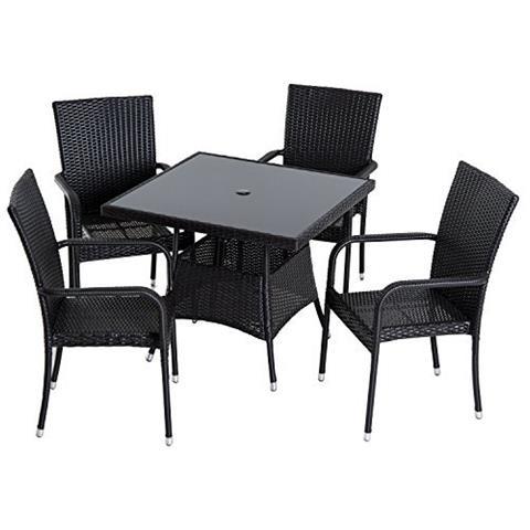 outsunny - set mobili da pranzo da esterno in pe rattan tavolo con 4