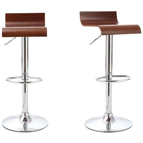 miliboo Gruppo Di 2 Sgabelli Da Bar / Cucina Design Legno Color Noce Surf V2