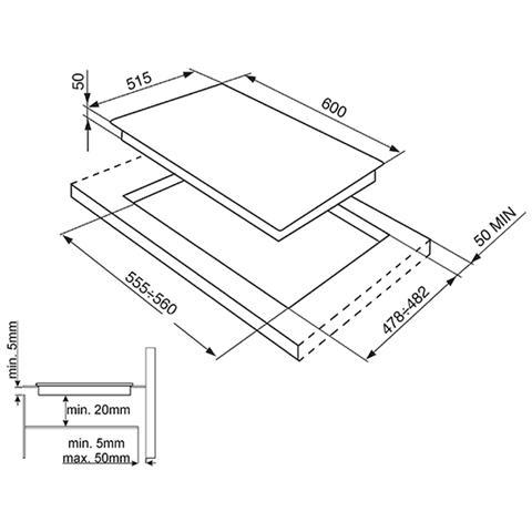 SMEG Piano Cottura SI5642D a Induzione 4 Zone Cottura da 60 cm Colore Nero
