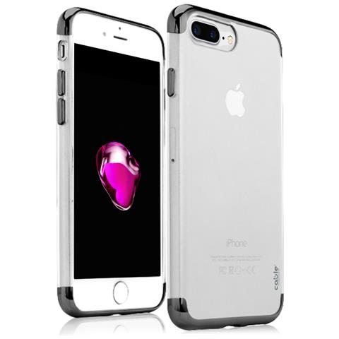 CABLE TECHNOLOGIES Isee3.0 Jet Black For Iphone 7 Plus, Cover Case Custodia Di Protezione, Tpu Trasparente, Bordi Metallizzati, Cover Morbida, ...