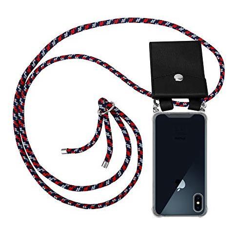 Cadorabo Custodia Collana Per Apple Iphone X / xs In Rosso Blu Bianco Case A Tracolla - Cover Laccio Per Il Collo In Silicone Trasparente Con Anelli ...