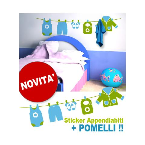 Appendiabiti Con Pomelli.Adesivi Creativi Adesivo Sticker Murale Appendiabiti Bimbo Con