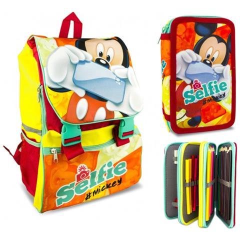 05475b5979 Mickey Mouse - Set Scuola Selfie Mk16111 Zaino Estensibile E Astuccio 3  Cerniere - ePRICE