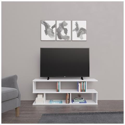 Homemania Mobile Porta Tv Su Con Ripiani Da Soggiorno Bianco In Legno 120 X 29 6 X 45 Cm Eprice